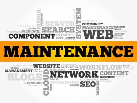 Maintenance word cloud, technology business concept background Illustration