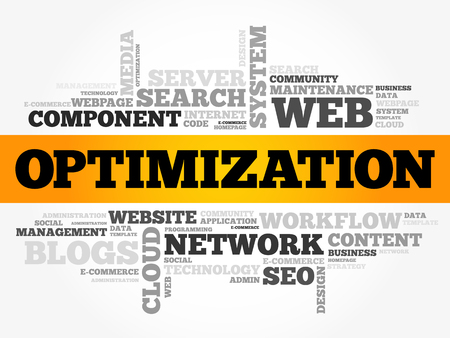 on top of the world: OPTIMIZATION word cloud collage, internet business concept