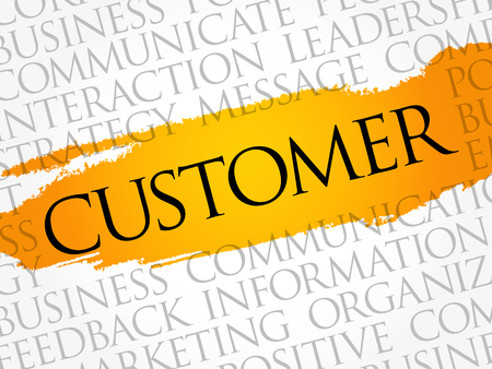 Customer word cloud collage, business concept background. Illustration