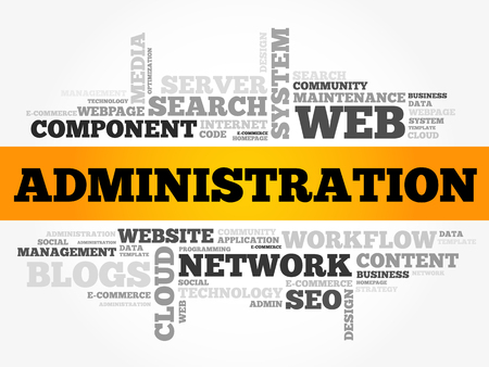 Administration word cloud, technology business concept background 일러스트
