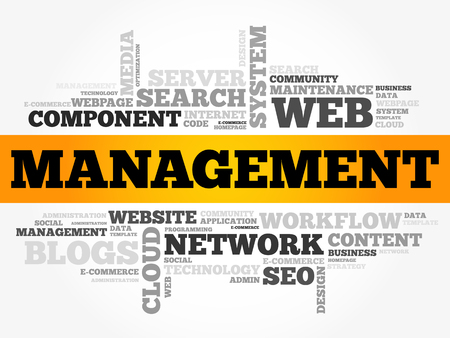 Management word cloud, technology business concept background.