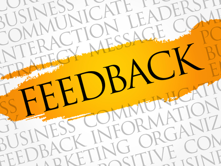 Feedback woord cloud collage, business concept achtergrond
