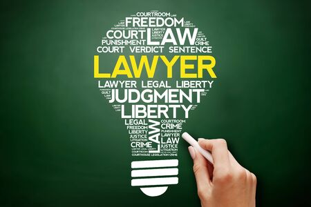 Lawyer bulb word cloud collage, business concept on blackboard