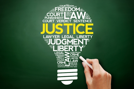 Justice bulb word cloud collage, business concept on blackboard Stock Photo