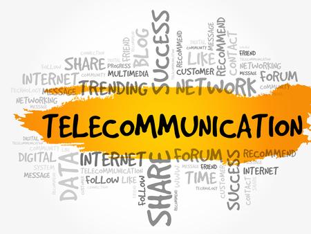 Telecommunication word cloud, technology business concept background
