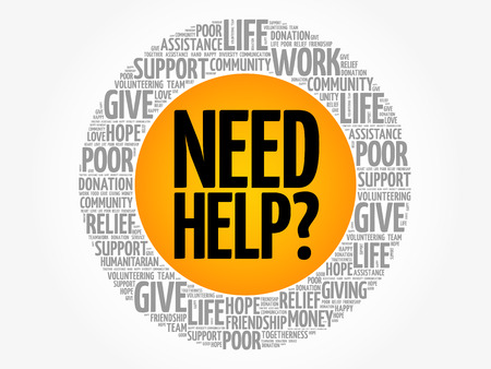 Need help? word cloud collage, concept background