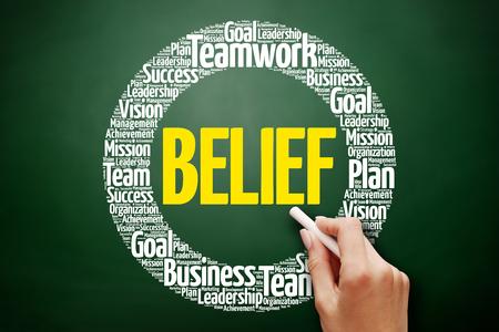 BELIEF word cloud collage, business concept on blackboard