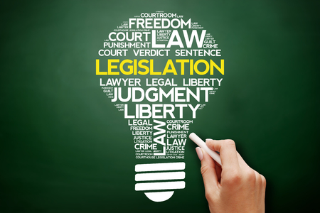 Legislation bulb word cloud collage, business concept on blackboard Stock Photo