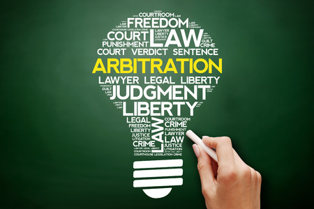 Arbitration bulb word cloud collage, business concept on blackboard