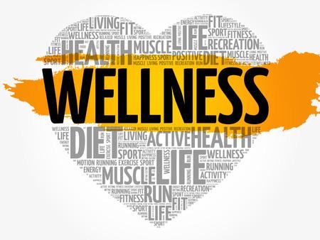 Wellness heart word cloud, fitness, sport, health concept