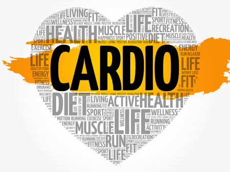 Ccardio heart word cloud, fitness, sport, health concept Illustration
