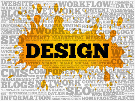 Design word cloud collage, technology business concept background