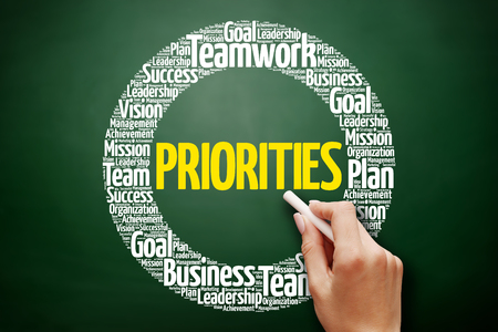 PRIORITIES word cloud collage, business concept on blackboard Stock Photo