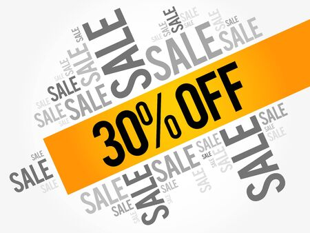 trade off: 30% OFF Sale words cloud, business concept background