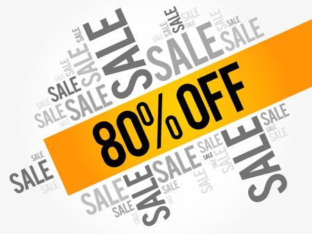 80% OFF Sale words cloud, business concept background Illustration
