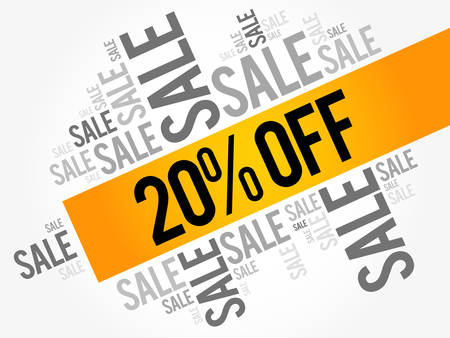 trade off: 20% OFF Sale words cloud, business concept background