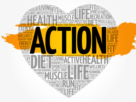ACTION heart word cloud, fitness, sport, health concept Çizim