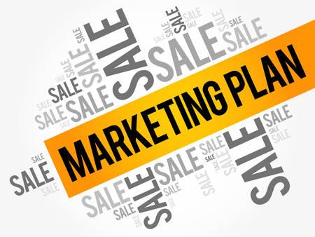 Marketing Plan words cloud, business concept background Illustration