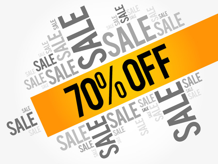 seventy: 70% OFF Sale words cloud, business concept background