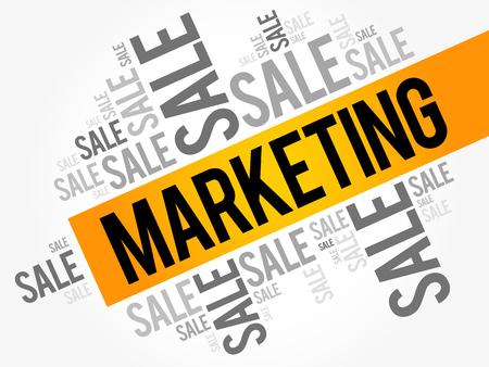 Las palabras de marketing se nublan el collage, fondo del concepto del negocio Ilustración de vector