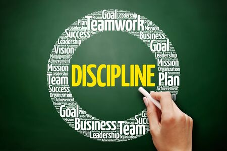 DISCIPLINE word cloud collage, business concept on blackboard