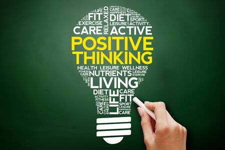 Positive thinking bulb word cloud collage, health concept on blackboard