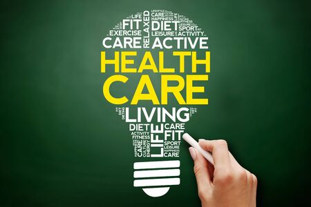 Health care bulb word cloud collage, health concept on blackboard
