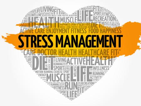 Stress Management heart word cloud.