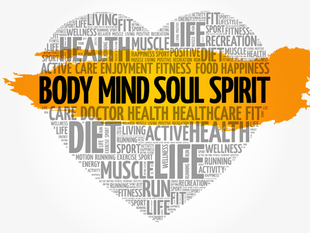 Body Mind Soul Spirit heart word cloud. Vectores