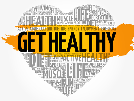 positive energy: Get Healthy heart word cloud. Illustration