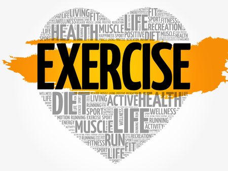 EXERCISE heart word cloud. Illustration