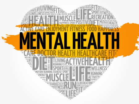 Mental health heart word cloud.