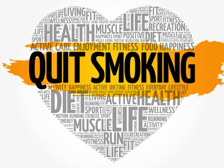 Quit Smoking heart word cloud.