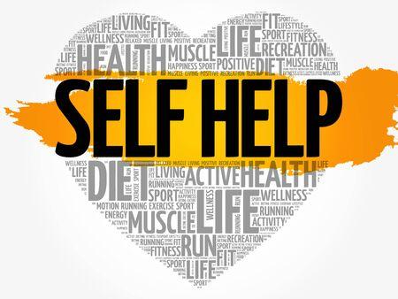 Self Help heart word cloud. Illustration