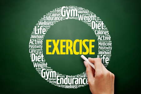 EXERCISE word cloud collage, health concept on blackboard
