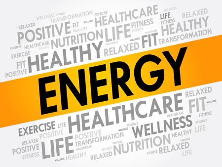 endurance run: ENERGY word cloud, fitness, sport, health concept