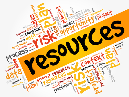 RESOURCES word cloud, business concept Illustration