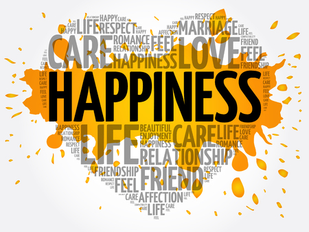 Happiness word cloud collage, heart concept background