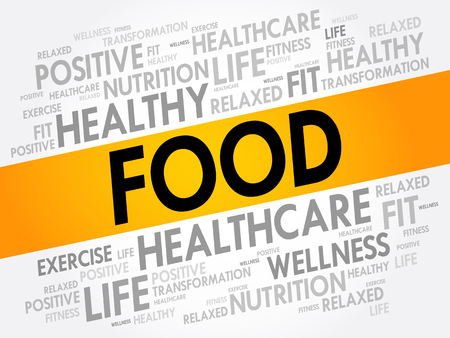FOOD word cloud background, health concept