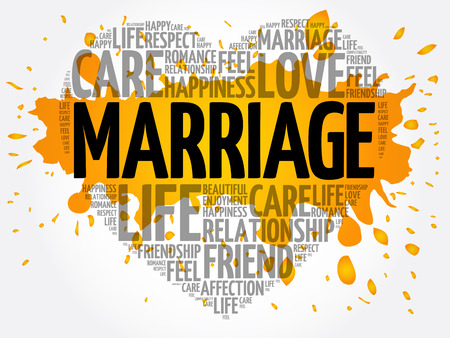 Marriage word cloud collage, heart concept background Illustration