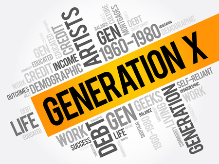 Generation X Word Cloud Concept collage background