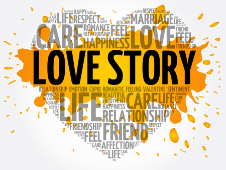 Love Story word cloud collage, heart concept background Illustration