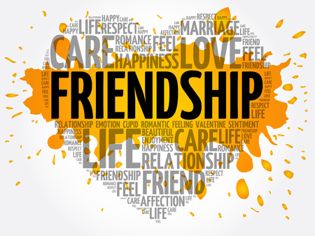 Friendship concept heart word cloud collage