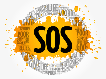 SOS word cloud collage, concept background