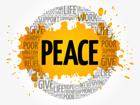 PEACE word cloud collage, concept background