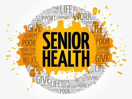 Senior health word cloud collage, concept background