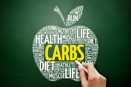 CARBS apple word cloud collage, health concept on blackboard