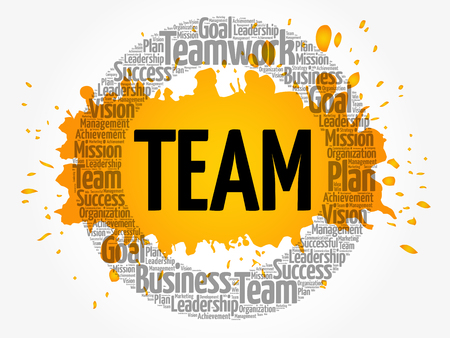 Nuvem de palavra de equipe círculo, conceito de negócio Foto de archivo - 90594446