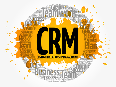 Customer Relationship Management circle word cloud, business concept Illustration