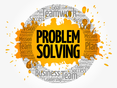 Probleem het oplossen de wolk van het cirkelwoord, bedrijfsconcept Vector Illustratie